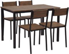 Beliani HAMRY - Eetgroep - Donkere houtkleur - MDF