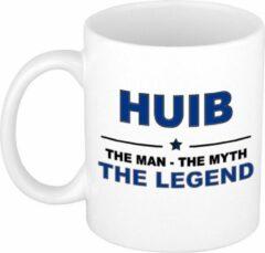 Bellatio Decorations Naam cadeau Huib - The man, The myth the legend koffie mok / beker 300 ml - naam/namen mokken - Cadeau voor o.a verjaardag/ vaderdag/ pensioen/ geslaagd/ bedankt
