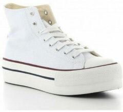 Witte Hoge Sneakers Victoria 061101 Tribu Doble Botín Lona de Mujeres