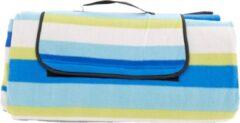 Merkloos / Sans marque Picknickkleed XXL Gestreept Blauw - Plaid 200 x 200 cm - Picknickdeken Waterdicht - Strandlaken