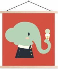 TextilePosters Een cartoon illustratie van een baby olifant op een rode achtergrond schoolplaat platte latten blank 60x60 cm - Foto print op textielposter (wanddecoratie woonkamer/slaapkamer)