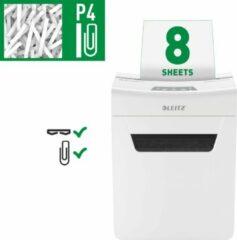 Leitz IQ Protect Premium 8X Ultrastille Papierversnipperaar Met Anti-Vastloop Technologie Voor Thuis - P-4 Snippers - Tot 8 Vellen - Vernietigt Documenten, Nietjes En Paperclips - Opvangbak Van 14 Liter - Wit - Voor Thuiskantoor/Thuiswerkplek