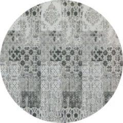 Donkergrijze Gínore Vintage rond vloerkleed - Patchwork - Tapijten woonkamer - Ruskeala Grijs Zwart - 280cm ø