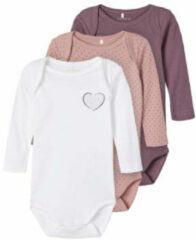 NAME IT BABY newborn baby romper - set van 3 paars/oudroze/wit