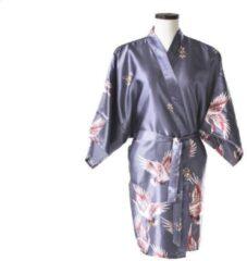 TA-HWA Korte Kimono met Kraanvogels Zilver Dames Nachtmode kimono S