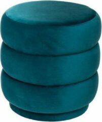 Blauwe Atmosphera luxe poef velvet Sinan - Sea blue - H40 cm - Velours - Fluweel - Voetsteun