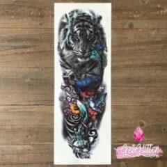 Rode GetGlitterBaby - Plak Tattoo Sleeve / Tijdelijke Tattoos / Nep Tatoeage / Fake Temporary Tattoo - Tijger