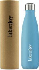 Blauwe Thermosfles drinkfles 500 ml aqua Laken Dubbelwandig RVS waterfles