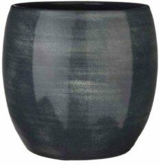 Mica Decorations lester ronde bloempot donkerblauw maat in cm: 31 x 33 - BLAUW