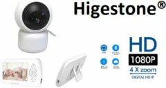 Babyfoon Met Scherm | Baby Monitor | Full HD | 1080P | Met Slaapliedjes | Nachtcamera | Geen Installatie Nodig | Wit | Higestone