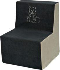 Go Go Momi Zachte foam stoel, borduurwerk, kinderen, comfortabel, zetel, kinderdagverblijf, Kids meubels, spelen, ontspannen - grijs en beige