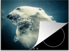 Bruine KitchenYeah Luxe inductie beschermer Zwemmende Beer - 65x52 cm - ijsbeer onder water - afdekplaat voor kookplaat - 3mm dik inductie bescherming - inductiebeschermer