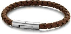 Donkerbruine Frank 1967 Leather 7FB-0408 Leren armband met stalen sluiting - 6 mm / 21 cm - Donker Bruin