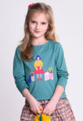 Turquoise Oilily Tala t-shirt 65 solid with placement girl with flower