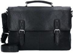 Green Burry Greenburry Oily Tumbled Messenger Bag Aktentasche Leder 40 cm Laptopfach black