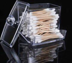 Transparante Boutique house Opslag Stand Organizer Box - Wattenstaafjes Houder - Vierkant - Make-up Case - Met Deksel