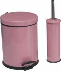 Tiss - Pedal Bin Classic Pedaalemmer 2-delig- badkamer en toilet- 5 l - Roze