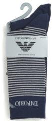 Emporio Armani - Heren - 2-pack Sokken Zwart / Grijs Gestreept - Blauw - ONESIZE