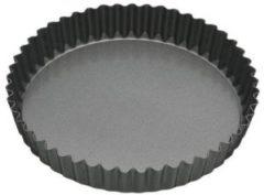 Grijze KitchenCraft Ronde geribbelde (quiche) bakvorm met losse bodem - 30 cm - Masterclass