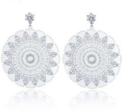 Cilla Jewels Damesoorbellen met Bloem en Zirkonia Zilver