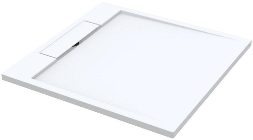Afbeelding van Douche Concurrent Douchebak Decent Vierkant 90x90x3.5cm Solid Surface Mat Wit