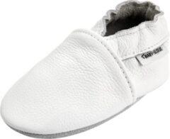 Merkloos / Sans marque Witte effen leren babyslofjes van Baby-Slofje maat 12-18 maanden