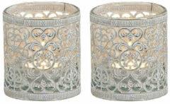 Bellatio Decorations Set van 2x stuks waxinelicht/theelicht houder zilver antiek 8 cm - Woonaccessoires/woondecoraties kaarsenhouders