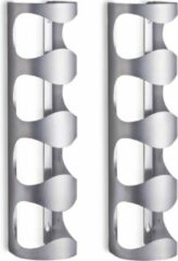 2x Zilver wijnflessen muurrek/wijnrekken voor 4 flessen 45 cm - Zeller - Keukenbenodigdheden - Woonaccessoires/decoratie - Wijnflesrekken/wijnflessenrekken/wijnrekken - Rek/houder voor wijnflessen