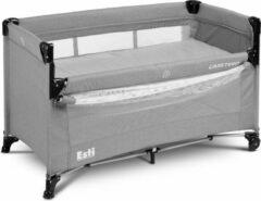 Grijze Caretero Esti Campingbed met 2 lagen inklapbaar - co sleeper- kinderbed met op wielen Grey