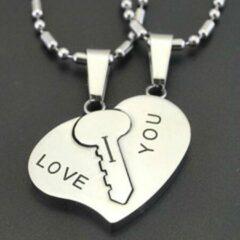Zilveren TrendFox I Love You Ketting set | Hartje | Sleutel | Liefdes Cadeau | Romantisch Cadeau | Koppel Cadeau | Relatie Cadeau | Kettingen