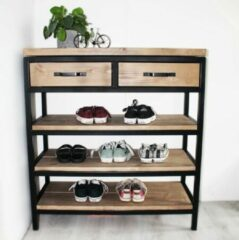 """Oost & Dijk Interieur Industriële schoenenkast hout en metaal """"Denver"""" - 90 x 30 x 100 cm"""