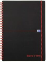 Zwarte Oxford BLACK N' RED spiraalblok kunststof, 140 bladzijden ft A5, geruit 5 mm