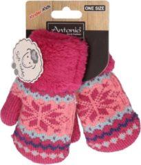 Merkloos / Sans marque Gebreide winter handschoenen Nordic fuchsia roze voor peuters - Roze kinder handschoenen