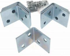 Ben Tools 16x stuks hoekankers / stoelhoeken inclusief schroeven - 30 x 30 x 30 mm - metaal - hoekverbinders