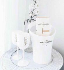 Witte Moet & Chandon Moët & Chandon Ice Imperial Ice Bucket met 2 Glazen - Luxe Wijnkoeler / IJsemmer en Champagneglas 2x