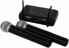 Zwarte Vonyx STWM712 draadloze VHF microfoonset met 2 handheld microfoons