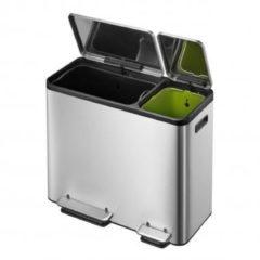 Roestvrijstalen EKO Pedaalemmer EcoCasa 30+15 ltr - Mat/RVS - Afvalemmer voor afvalscheiding