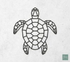 Laserfabrique Wanddecoratie - Geometrische Schildpad - Zwart - 45cm - Houten Dieren - Muurdecoratie - Line art - Wall art