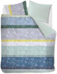 Blauwe Oilily Blooming Stripe Dekbedovertrek - 2-persoons (200x200/220 Cm + 2 Slopen) - Katoen Satijn - Blue