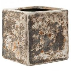 Baq Design Lava Relic Rust metal Cube bloempot binnen 16x16x16 cm
