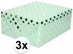 Shoppartners 3x Mintgroene folie inpakpapier/cadeaupapier zilveren stip 200 x 70 cm - cadeaupapier/geschenkpapier - Cadeautjes inpakken