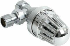 """Zilveren Plieger Thermostatisch Radiatorkraan Haaks- 1/2"""" x 15 - Chroom"""