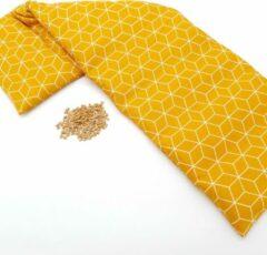 Pittenzak XL Met Pit! – Extra lang - Wasbare hoes - Zachte/geurloos tarwe - Lekker voor de koude voeten of verlichting van pijn - Made in NL – Okergeel grafisch