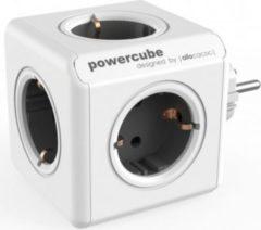 Allocacoc PowerCube Original Grau, Reiseadapter & 5x Steckdose und Verteiler, 230V Schuko, Weiß Grau