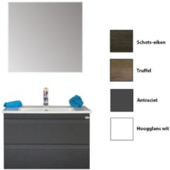 Badkamermeubelset Sanicare Q7 Twee Soft-Close Laden Greeploos 75 cm (alle kleuren, spiegel optioneel)