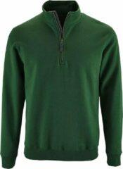 SOLS Heren Stan Contrast Zip Neck Sweatshirt (Fles groen)