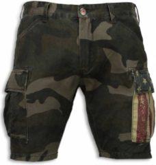 Groene Bread & Buttons Korte Broeken Heren - Slim Fit Camouflage Shorts - Groen - Maten: 28