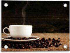 Beige KuijsFotoprint Tuinposter – Kopje Koffie met Koffiebonen - 40x30cm Foto op Tuinposter (wanddecoratie voor buiten en binnen)