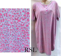 Merkloos / Sans marque Dames nachthemd korte mouw met panterprint grijs/roze M 38-40