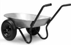 Zilveren Gardebruk kruiwagen 2 wielen – tot 150kg – 100 ltr - stalen velgen luchtbanden